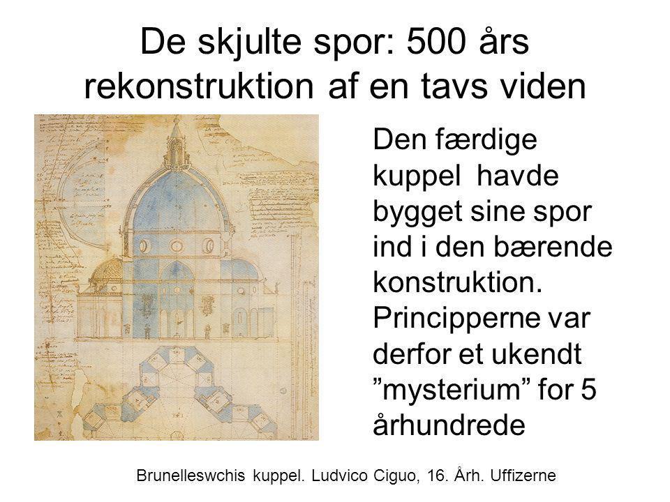 De skjulte spor: 500 års rekonstruktion af en tavs viden Den færdige kuppel havde bygget sine spor ind i den bærende konstruktion. Principperne var de