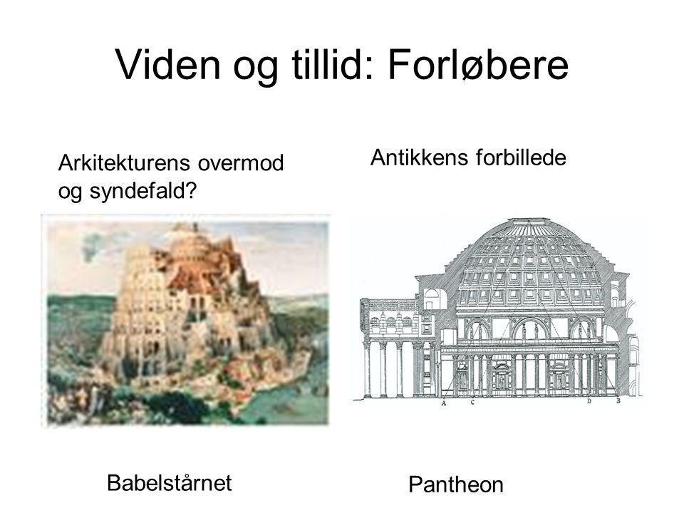 Viden og tillid: Forløbere Pantheon Babelstårnet Arkitekturens overmod og syndefald? Antikkens forbillede