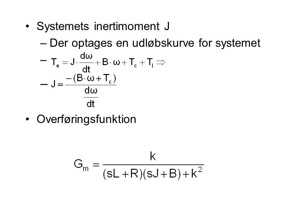 Systemets inertimoment J –Der optages en udløbskurve for systemet – Overføringsfunktion