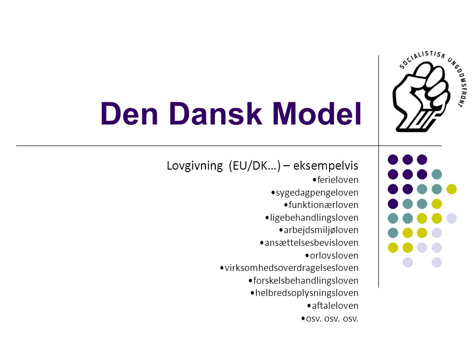 Den Dansk Model Lovgivning (EU/DK…) – eksempelvis ferieloven sygedagpengeloven funktionærloven ligebehandlingsloven arbejdsmiljøloven ansættelsesbevisloven orlovsloven virksomhedsoverdragelsesloven forskelsbehandlingsloven helbredsoplysningsloven aftaleloven osv.