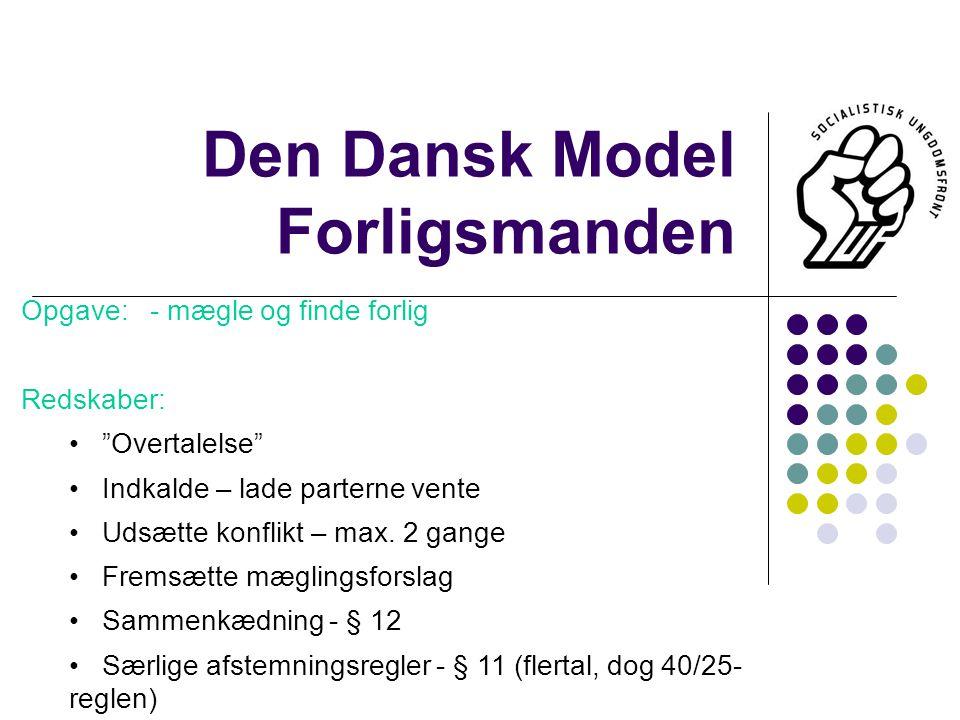 Den Dansk Model Forligsmanden Opgave: - mægle og finde forlig Redskaber: Overtalelse Indkalde – lade parterne vente Udsætte konflikt – max.