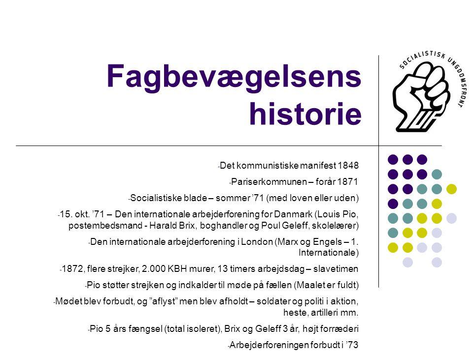 Fagbevægelsens historie - Det kommunistiske manifest 1848 - Pariserkommunen – forår 1871 - Socialistiske blade – sommer '71 (med loven eller uden) - 15.