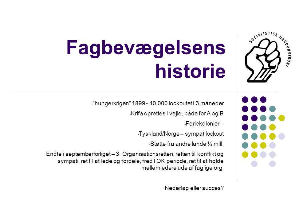 Fagbevægelsens historie - hungerkrigen 1899 - 40.000 lockoutet i 3 måneder - Krifa oprettes i vejle, både for A og B - Feriekolonier – - Tyskland/Norge – sympatilockout - Støtte fra andre lande ¾ mill.