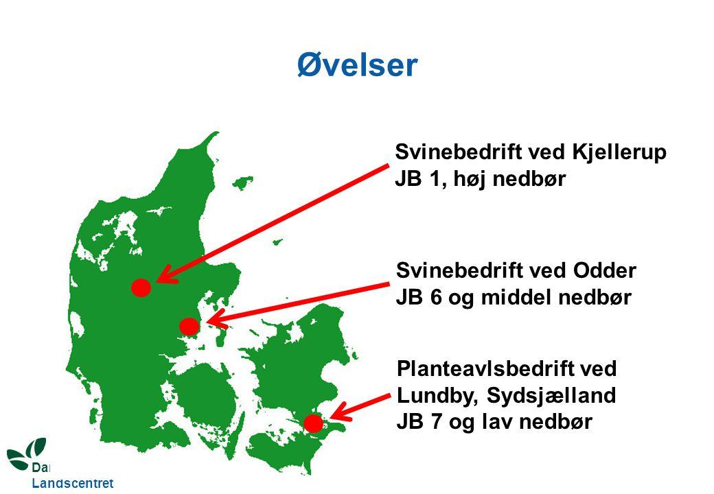 Dansk Landbrugsrådgivning Landscentret Øvelser Svinebedrift ved Kjellerup JB 1, høj nedbør Svinebedrift ved Odder JB 6 og middel nedbør Planteavlsbedrift ved Lundby, Sydsjælland JB 7 og lav nedbør