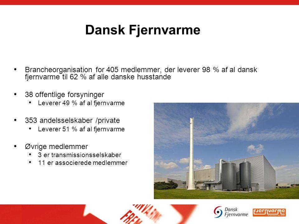 Dansk Fjernvarme Brancheorganisation for 405 medlemmer, der leverer 98 % af al dansk fjernvarme til 62 % af alle danske husstande 38 offentlige forsyninger Leverer 49 % af al fjernvarme 353 andelsselskaber /private Leverer 51 % af al fjernvarme Øvrige medlemmer 3 er transmissionsselskaber 11 er associerede medlemmer