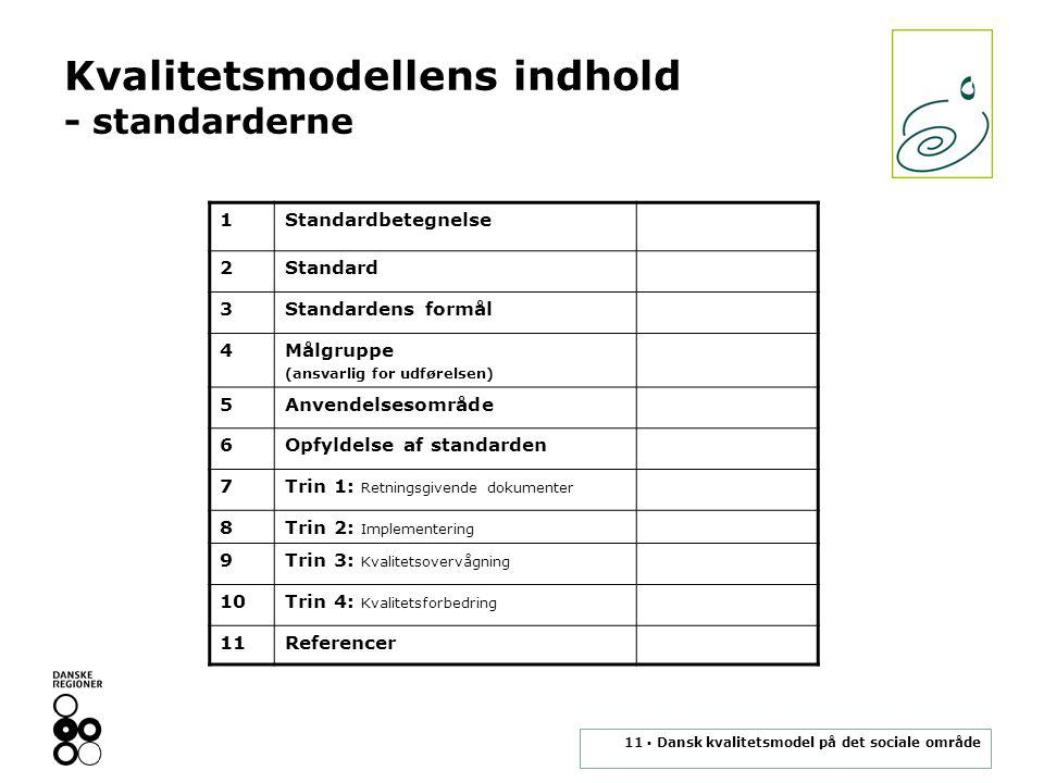 11 ▪ Dansk kvalitetsmodel på det sociale område Kvalitetsmodellens indhold - standarderne 1Standardbetegnelse 2Standard 3Standardens formål 4Målgruppe (ansvarlig for udførelsen) 5Anvendelsesområde 6Opfyldelse af standarden 7Trin 1: Retningsgivende dokumenter 8Trin 2: Implementering 9Trin 3: Kvalitetsovervågning 10Trin 4: Kvalitetsforbedring 11Referencer