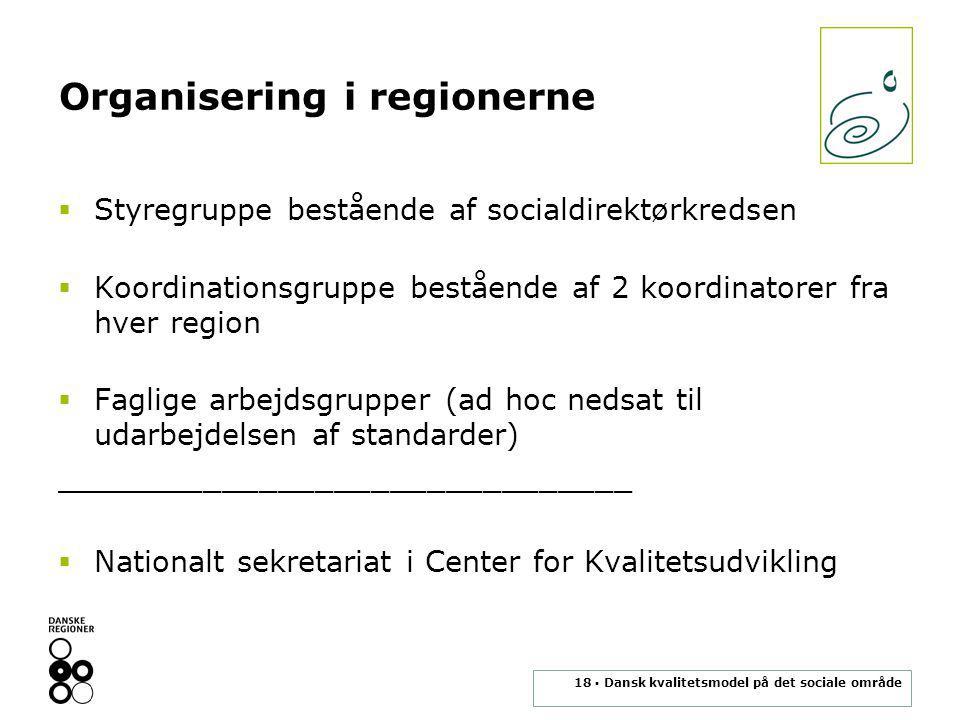 18 ▪ Dansk kvalitetsmodel på det sociale område Organisering i regionerne  Styregruppe bestående af socialdirektørkredsen  Koordinationsgruppe bestående af 2 koordinatorer fra hver region  Faglige arbejdsgrupper (ad hoc nedsat til udarbejdelsen af standarder) _______________________________  Nationalt sekretariat i Center for Kvalitetsudvikling