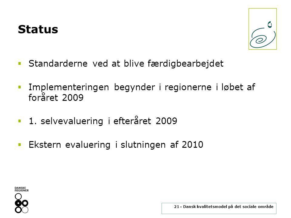 21 ▪ Dansk kvalitetsmodel på det sociale område Status  Standarderne ved at blive færdigbearbejdet  Implementeringen begynder i regionerne i løbet af foråret 2009  1.