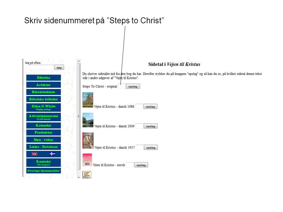 Skriv sidenummeret på Steps to Christ