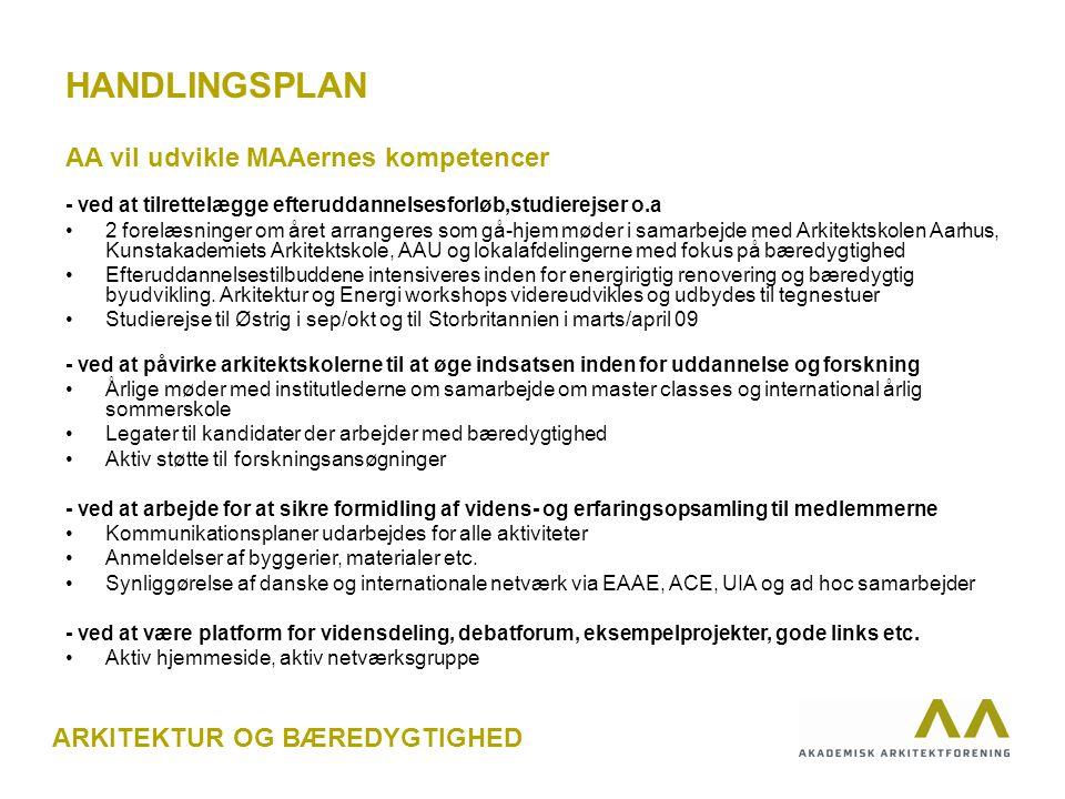 HANDLINGSPLAN AA vil udvikle MAAernes kompetencer - ved at tilrettelægge efteruddannelsesforløb,studierejser o.a 2 forelæsninger om året arrangeres som gå-hjem møder i samarbejde med Arkitektskolen Aarhus, Kunstakademiets Arkitektskole, AAU og lokalafdelingerne med fokus på bæredygtighed Efteruddannelsestilbuddene intensiveres inden for energirigtig renovering og bæredygtig byudvikling.