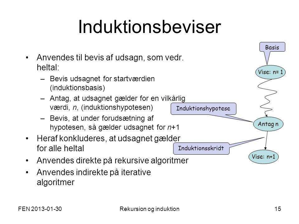 FEN 2013-01-30Rekursion og induktion15 Induktionsbeviser Anvendes til bevis af udsagn, som vedr.
