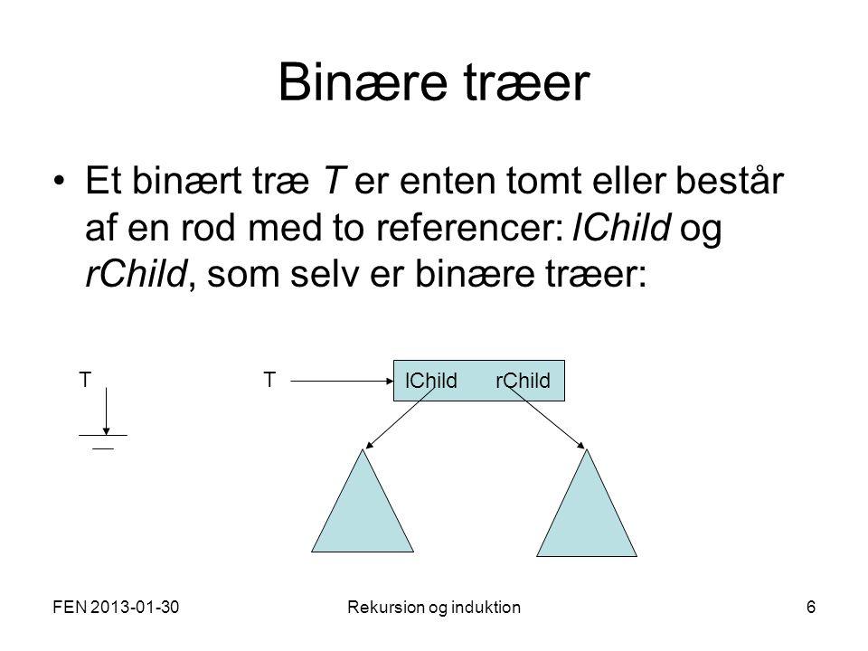 FEN 2013-01-30Rekursion og induktion6 Binære træer Et binært træ T er enten tomt eller består af en rod med to referencer: lChild og rChild, som selv er binære træer: TT lChild rChild