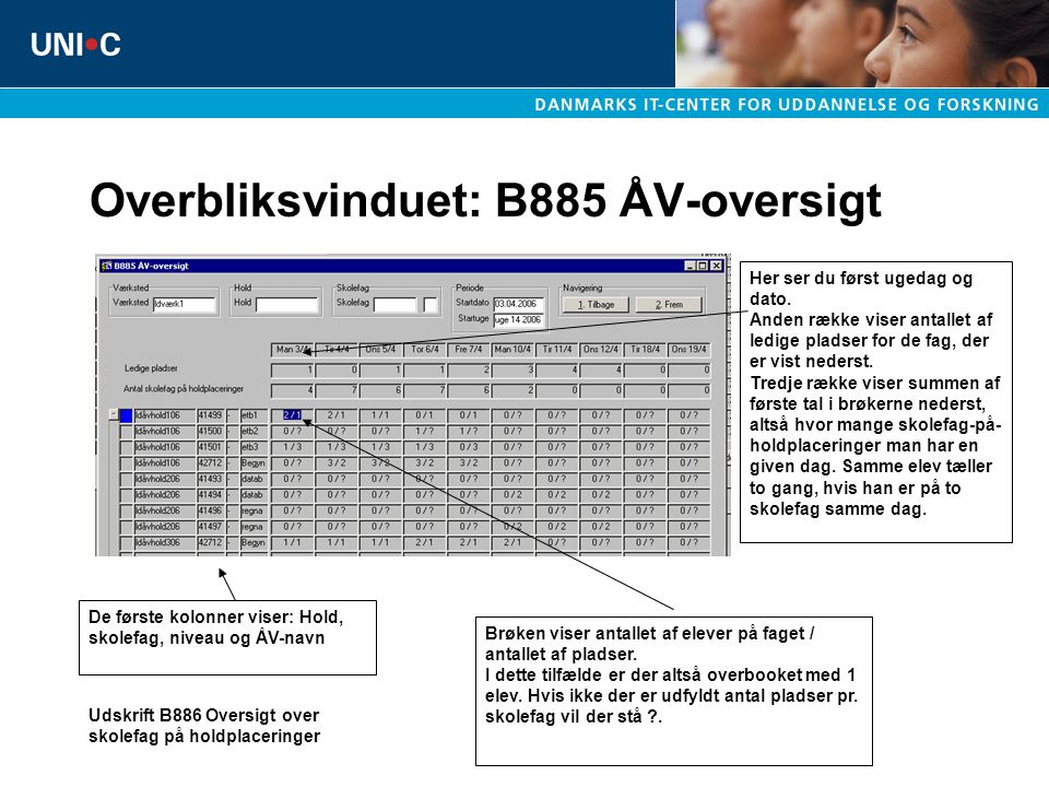 Overbliksvinduet: B885 ÅV-oversigt Her ser du først ugedag og dato.