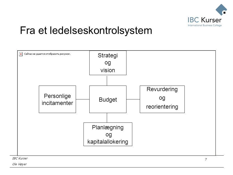 IBC Kurser Ole Høyer 7 Fra et ledelseskontrolsystem Budget Planlægning og kapitalallokering Strategi og vision Personlige incitamenter Revurdering og reorientering