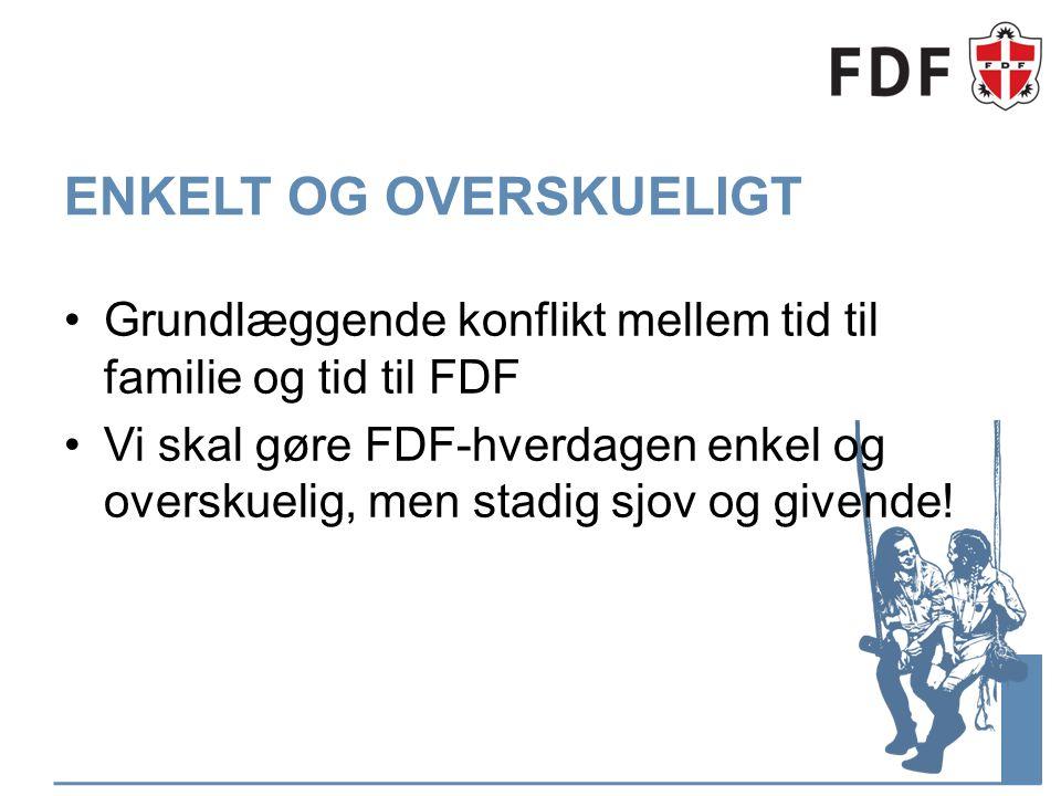 ENKELT OG OVERSKUELIGT Grundlæggende konflikt mellem tid til familie og tid til FDF Vi skal gøre FDF-hverdagen enkel og overskuelig, men stadig sjov og givende!