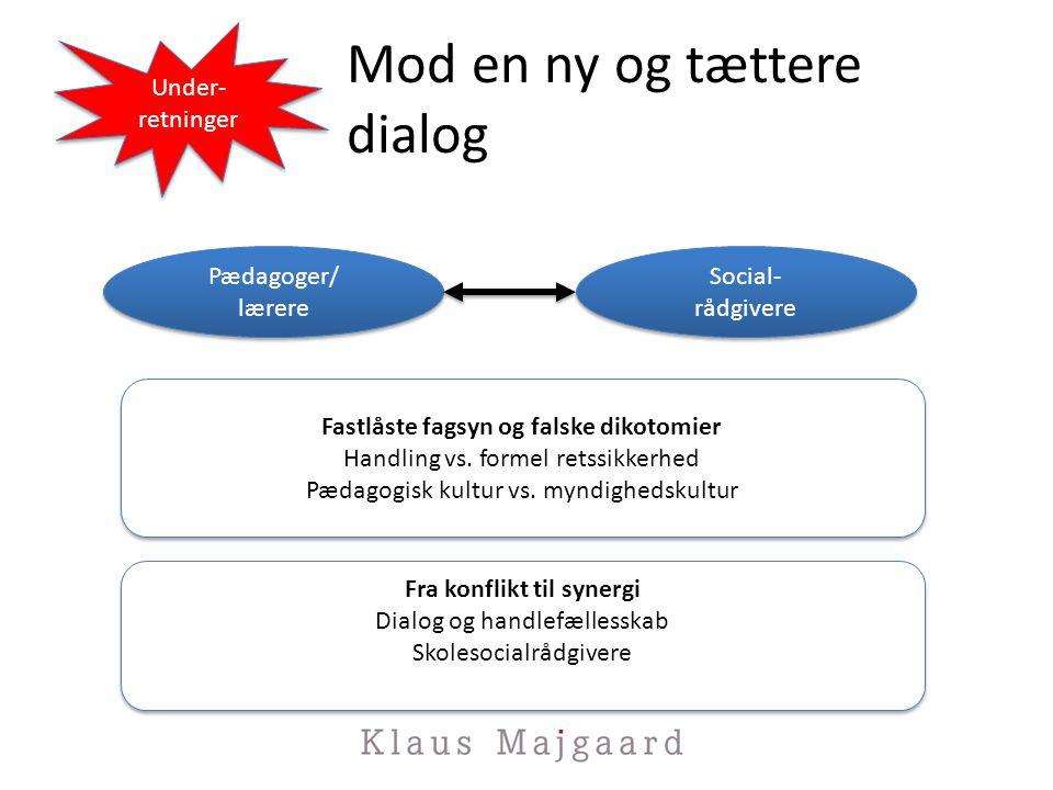 Mod en ny og tættere dialog Under- retninger Under- retninger Pædagoger/ lærere Pædagoger/ lærere Social- rådgivere Social- rådgivere Fastlåste fagsyn og falske dikotomier Handling vs.