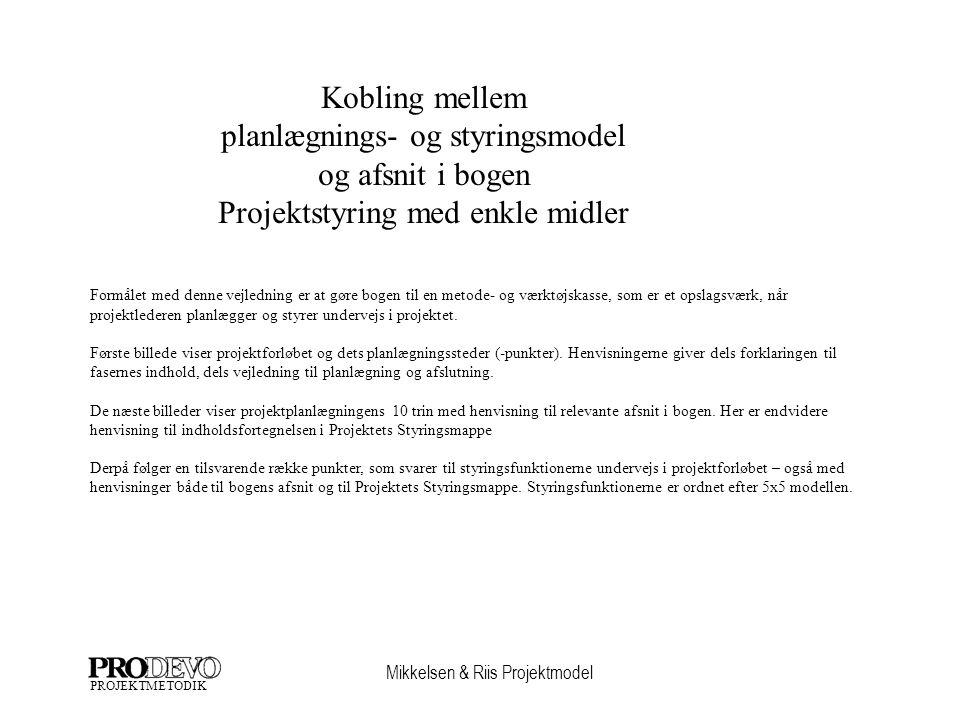 Mikkelsen & Riis Projektmodel PROJEKTMETODIK Formålet med denne vejledning er at gøre bogen til en metode- og værktøjskasse, som er et opslagsværk, når projektlederen planlægger og styrer undervejs i projektet.