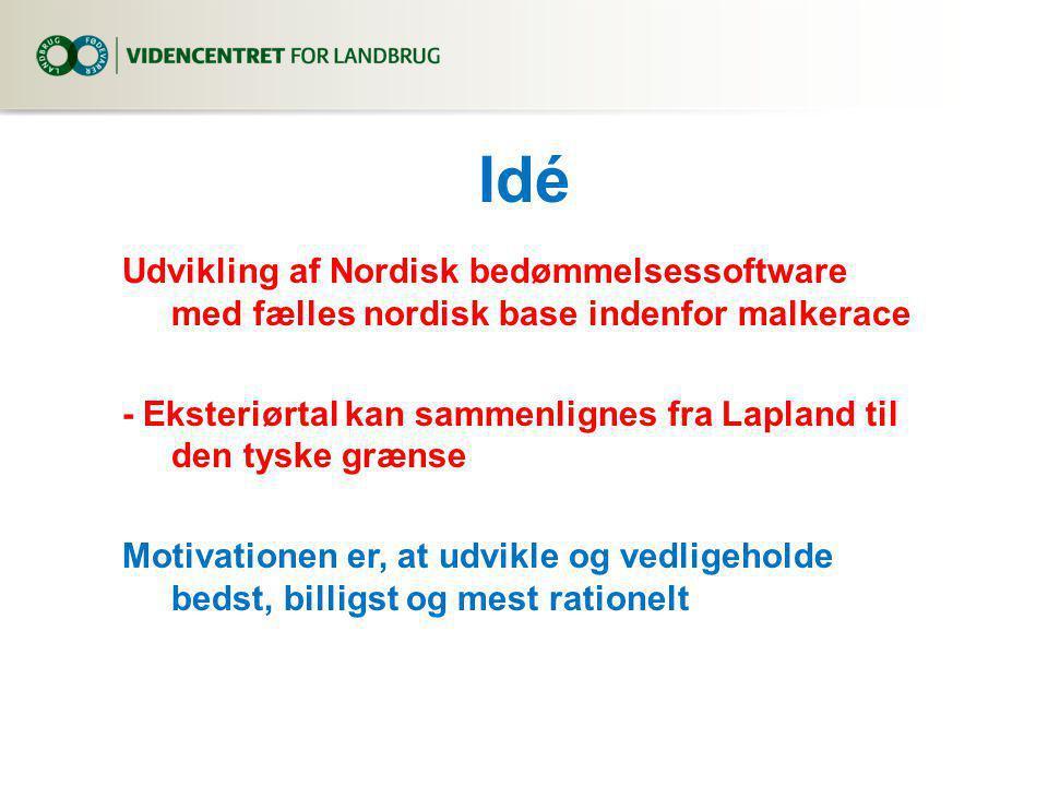 Idé Udvikling af Nordisk bedømmelsessoftware med fælles nordisk base indenfor malkerace - Eksteriørtal kan sammenlignes fra Lapland til den tyske grænse Motivationen er, at udvikle og vedligeholde bedst, billigst og mest rationelt