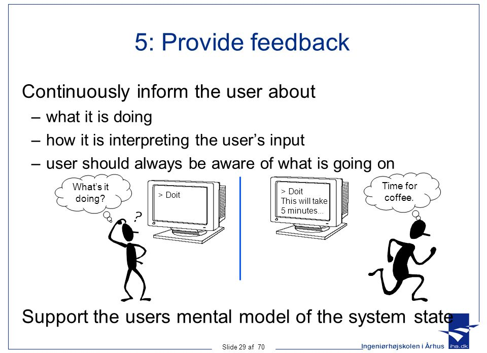 Ingeniørhøjskolen i Århus Slide 29 af 70 5: Provide feedback Continuously inform the user about –what it is doing –how it is interpreting the user's input –user should always be aware of what is going on > Doit What's it doing.