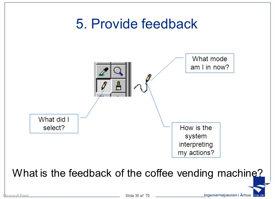 Ingeniørhøjskolen i Århus Slide 30 af 70 5. Provide feedback What did I select.