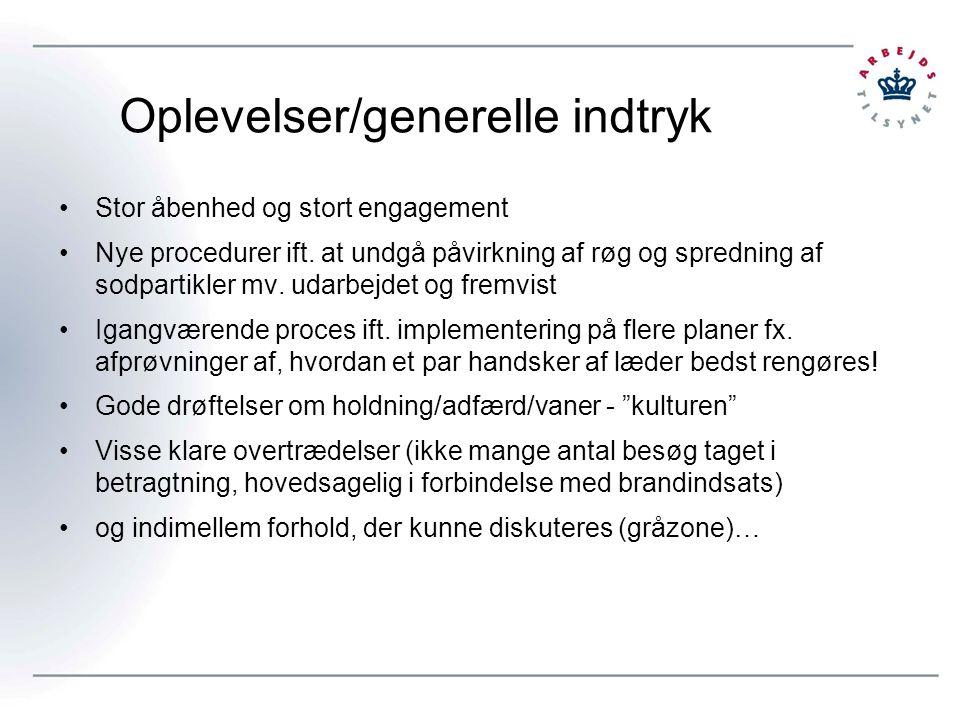 Oplevelser/generelle indtryk Stor åbenhed og stort engagement Nye procedurer ift.
