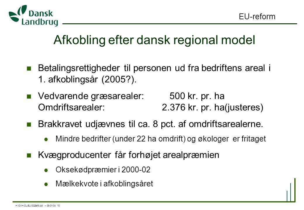 H:\OVH-DL\EU\0029sfb.ppt – 08-01-04 10 EU-reform Afkobling efter dansk regional model Betalingsrettigheder til personen ud fra bedriftens areal i 1.