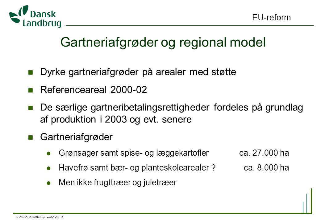 H:\OVH-DL\EU\0029sfb.ppt – 08-01-04 15 EU-reform Gartneriafgrøder og regional model Dyrke gartneriafgrøder på arealer med støtte Referenceareal 2000-02 De særlige gartneribetalingsrettigheder fordeles på grundlag af produktion i 2003 og evt.