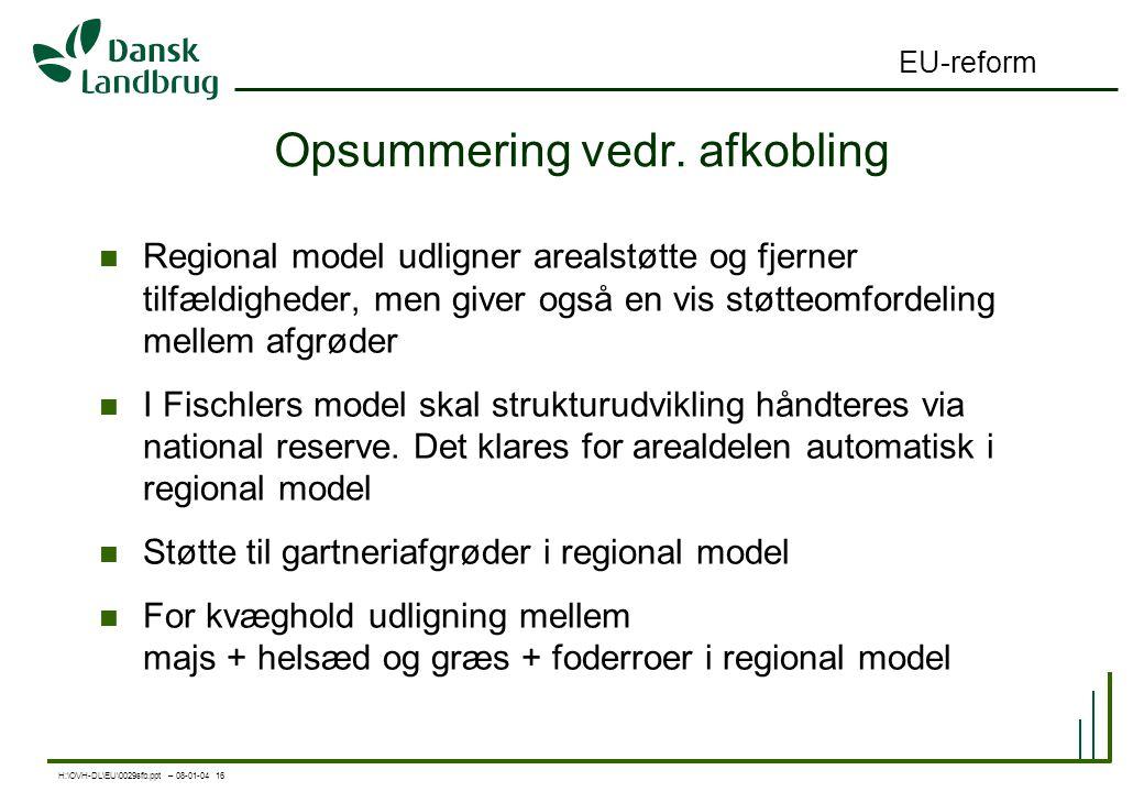 H:\OVH-DL\EU\0029sfb.ppt – 08-01-04 16 EU-reform Opsummering vedr.