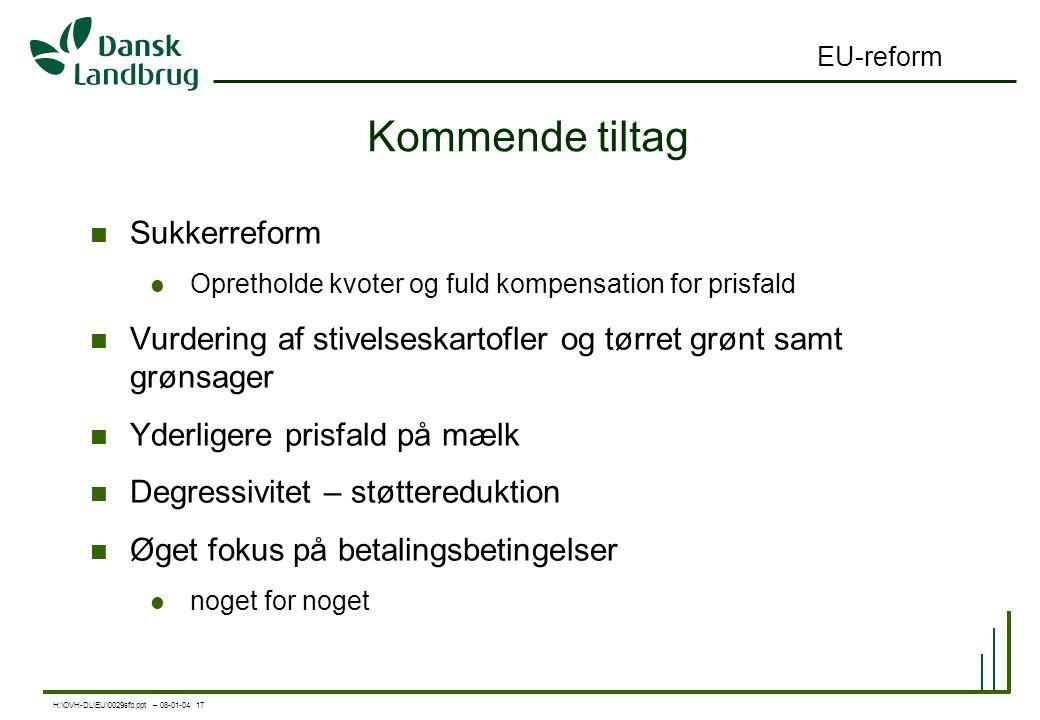 H:\OVH-DL\EU\0029sfb.ppt – 08-01-04 17 EU-reform Kommende tiltag Sukkerreform Opretholde kvoter og fuld kompensation for prisfald Vurdering af stivelseskartofler og tørret grønt samt grønsager Yderligere prisfald på mælk Degressivitet – støttereduktion Øget fokus på betalingsbetingelser noget for noget