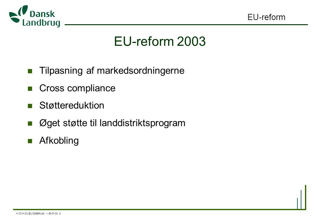 H:\OVH-DL\EU\0029sfb.ppt – 08-01-04 2 EU-reform EU-reform 2003 Tilpasning af markedsordningerne Cross compliance Støttereduktion Øget støtte til landdistriktsprogram Afkobling