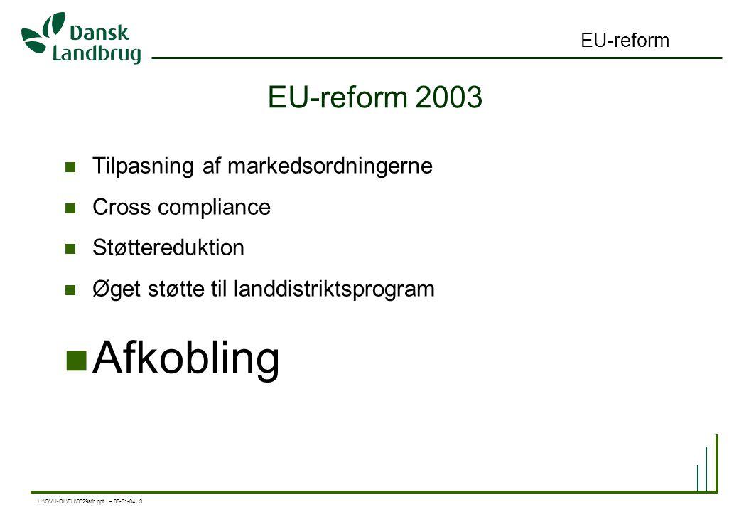 H:\OVH-DL\EU\0029sfb.ppt – 08-01-04 3 EU-reform EU-reform 2003 Tilpasning af markedsordningerne Cross compliance Støttereduktion Øget støtte til landdistriktsprogram Afkobling