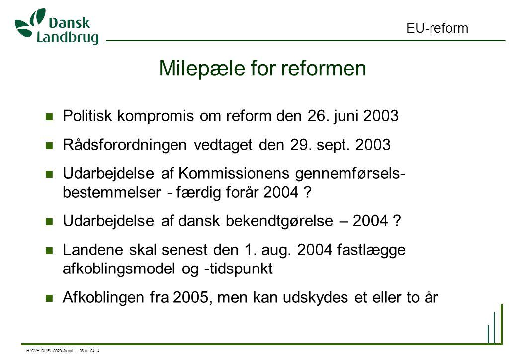 H:\OVH-DL\EU\0029sfb.ppt – 08-01-04 4 EU-reform Milepæle for reformen Politisk kompromis om reform den 26.