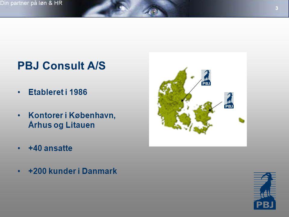 3 PBJ Consult A/S Etableret i 1986 Kontorer i København, Århus og Litauen +40 ansatte +200 kunder i Danmark