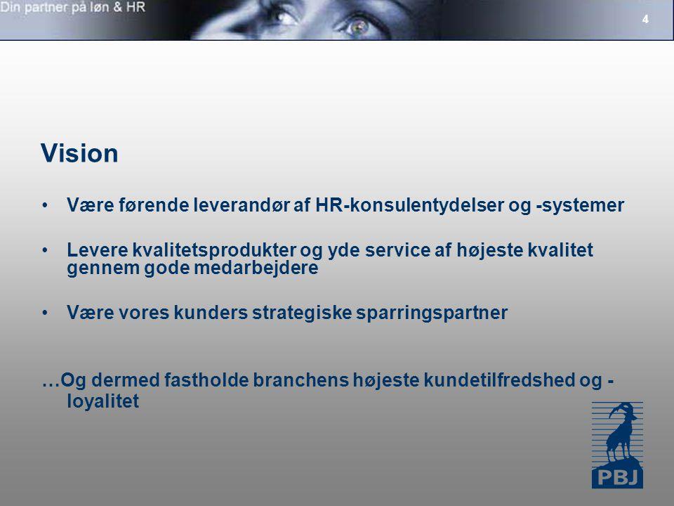 4 Vision Være førende leverandør af HR-konsulentydelser og -systemer Levere kvalitetsprodukter og yde service af højeste kvalitet gennem gode medarbejdere Være vores kunders strategiske sparringspartner …Og dermed fastholde branchens højeste kundetilfredshed og - loyalitet
