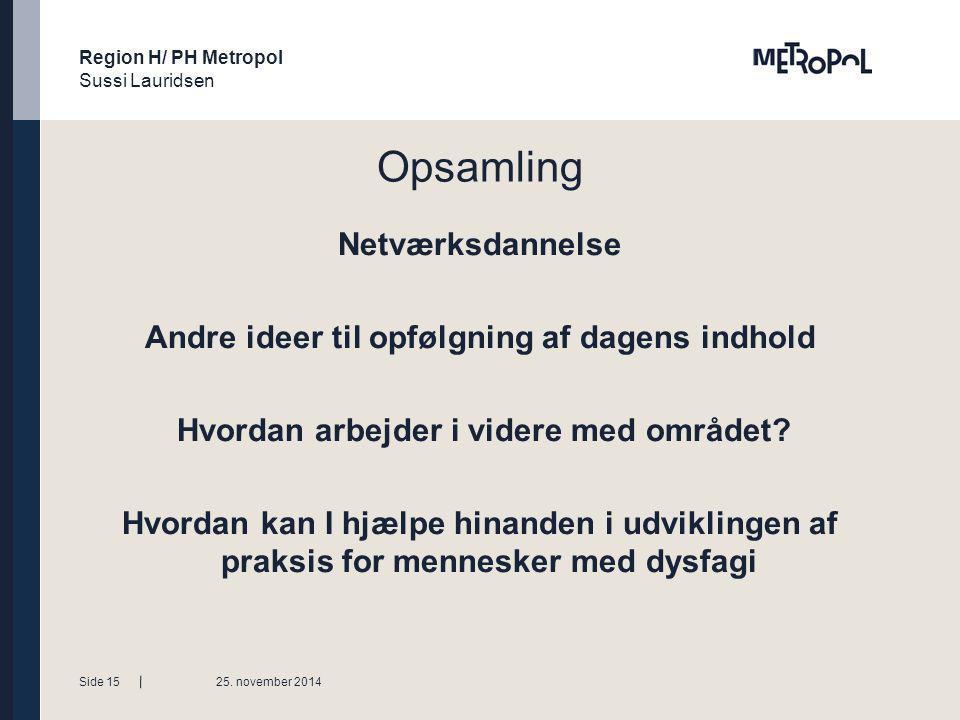 Region H/ PH Metropol Sussi Lauridsen Tekstside med bullets Niveauer ændres med forøge / mindske listeniveau Opsamling Netværksdannelse Andre ideer til opfølgning af dagens indhold Hvordan arbejder i videre med området.