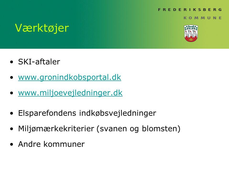 Værktøjer SKI-aftaler www.gronindkobsportal.dk www.miljoevejledninger.dk Elsparefondens indkøbsvejledninger Miljømærkekriterier (svanen og blomsten) Andre kommuner