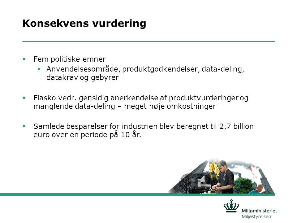 Konsekvens vurdering  Fem politiske emner  Anvendelsesområde, produktgodkendelser, data-deling, datakrav og gebyrer  Fiasko vedr.