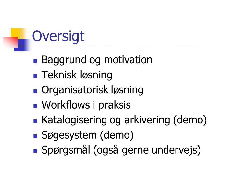 Oversigt Baggrund og motivation Teknisk løsning Organisatorisk løsning Workflows i praksis Katalogisering og arkivering (demo) Søgesystem (demo) Spørgsmål (også gerne undervejs)