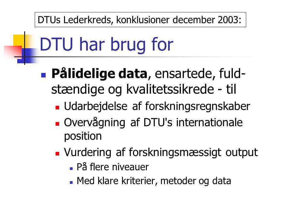 DTU har brug for Pålidelige data, ensartede, fuld- stændige og kvalitetssikrede - til Udarbejdelse af forskningsregnskaber Overvågning af DTU s internationale position Vurdering af forskningsmæssigt output På flere niveauer Med klare kriterier, metoder og data DTUs Lederkreds, konklusioner december 2003: