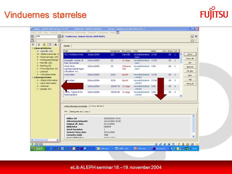 eLib ALEPH seminar 18.–19. november 2004 Vinduernes størrelse