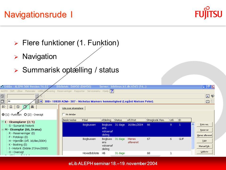 eLib ALEPH seminar 18.–19. november 2004 Navigationsrude I  Flere funktioner (1.