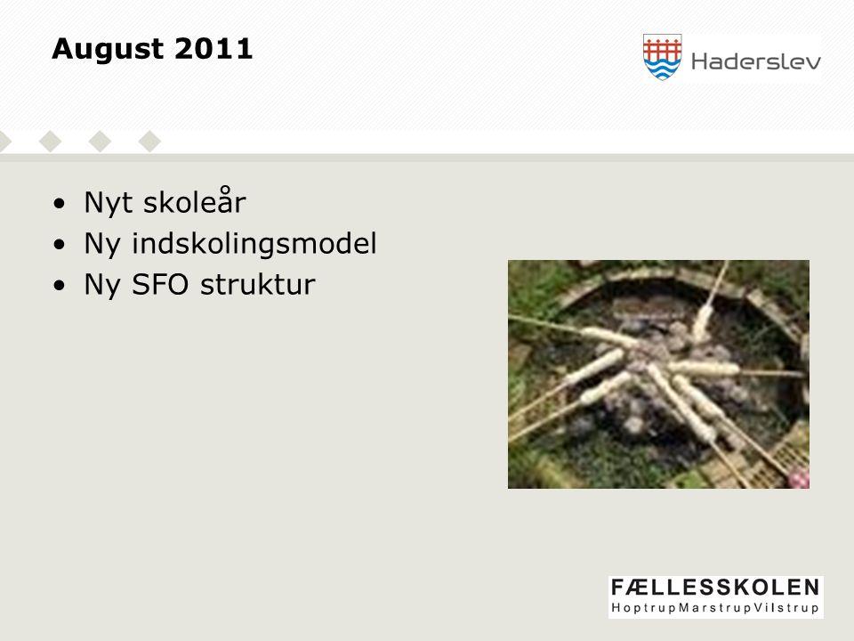 August 2011 Nyt skoleår Ny indskolingsmodel Ny SFO struktur