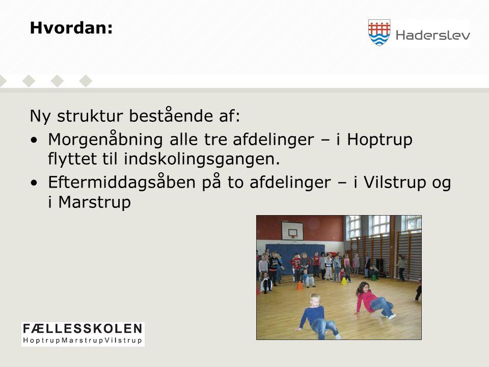 Hvordan: Ny struktur bestående af: Morgenåbning alle tre afdelinger – i Hoptrup flyttet til indskolingsgangen.