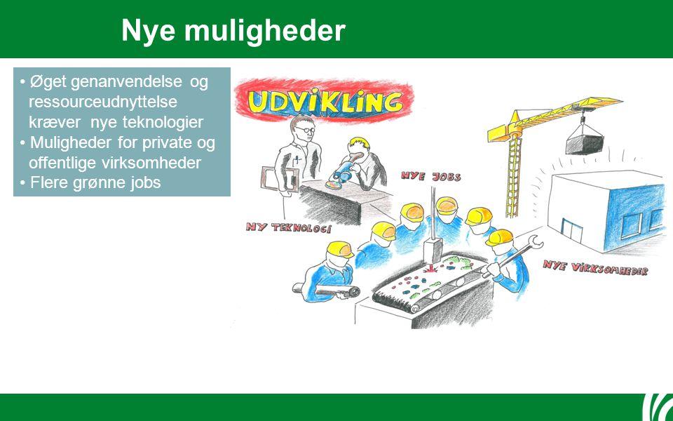 Nye muligheder Øget genanvendelse og ressourceudnyttelse kræver nye teknologier Muligheder for private og offentlige virksomheder Flere grønne jobs