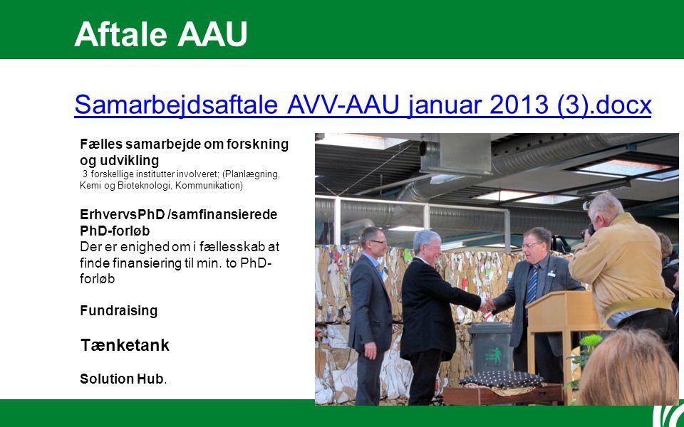 Aftale AAU Samarbejdsaftale AVV-AAU januar 2013 (3).docx Fælles samarbejde om forskning og udvikling 3 forskellige institutter involveret; (Planlægning, Kemi og Bioteknologi, Kommunikation) ErhvervsPhD /samfinansierede PhD-forløb Der er enighed om i fællesskab at finde finansiering til min.