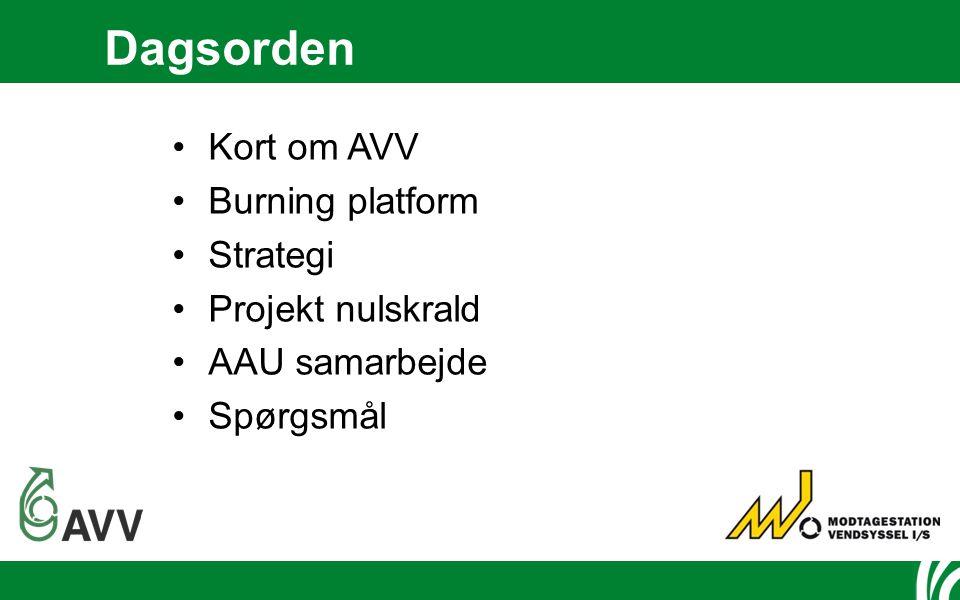 Dagsorden Kort om AVV Burning platform Strategi Projekt nulskrald AAU samarbejde Spørgsmål