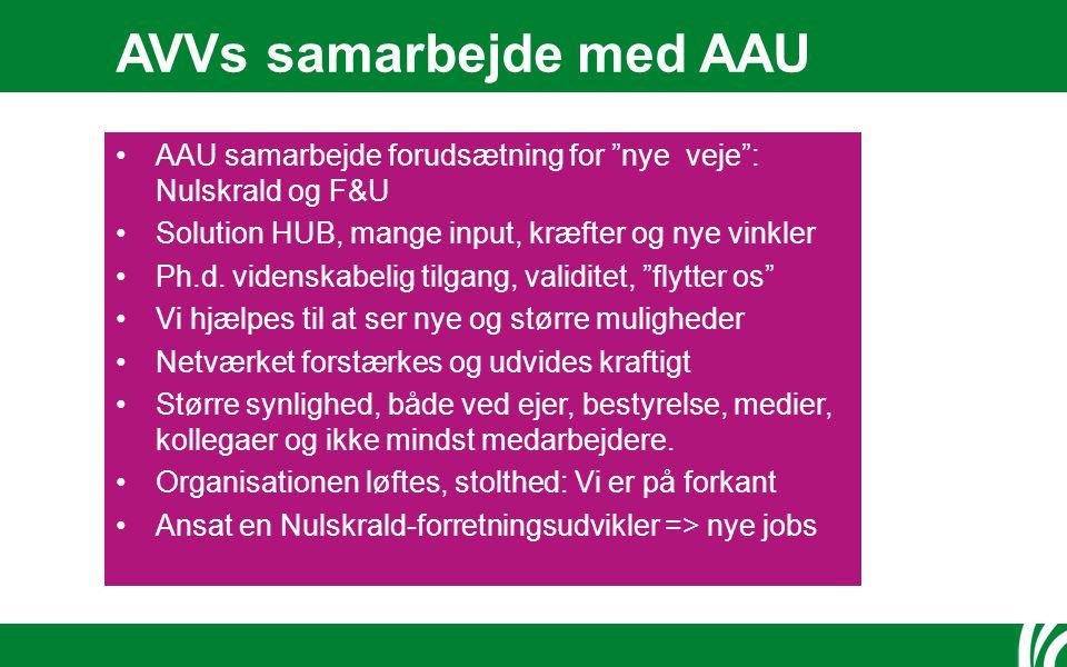 AVVs samarbejde med AAU AAU samarbejde forudsætning for nye veje : Nulskrald og F&U Solution HUB, mange input, kræfter og nye vinkler Ph.d.