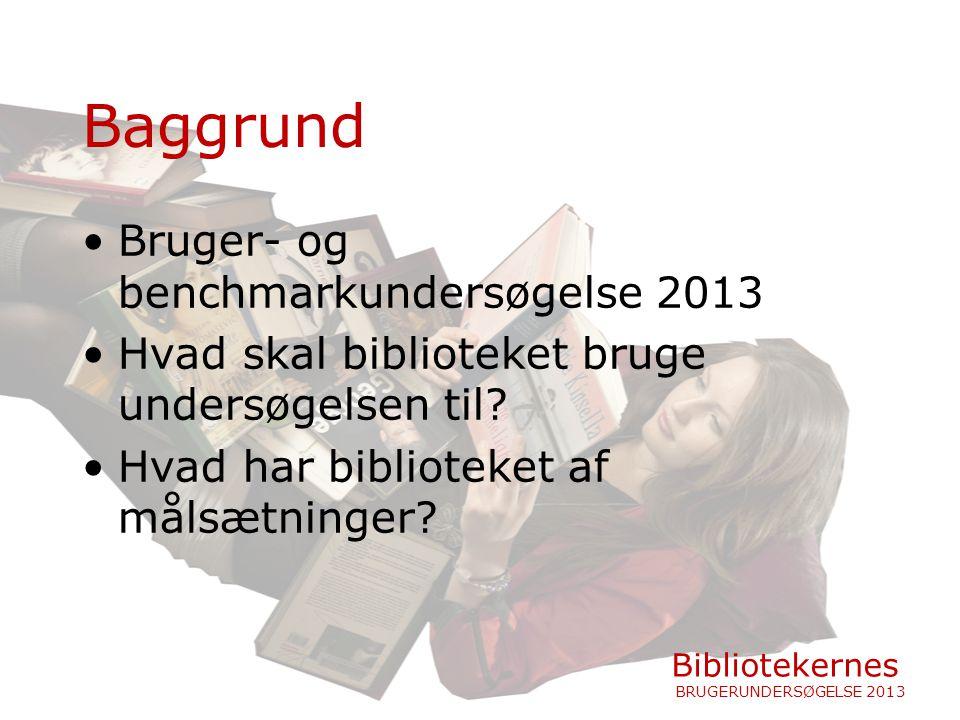 Baggrund Bruger- og benchmarkundersøgelse 2013 Hvad skal biblioteket bruge undersøgelsen til.
