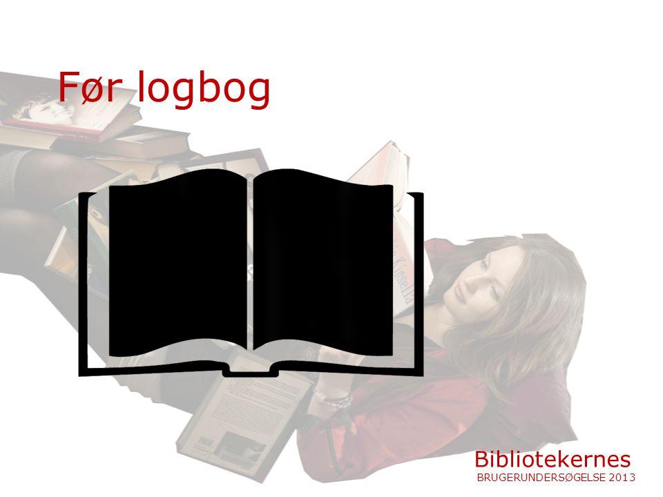 Før logbog Bibliotekernes BRUGERUNDERSØGELSE 2013