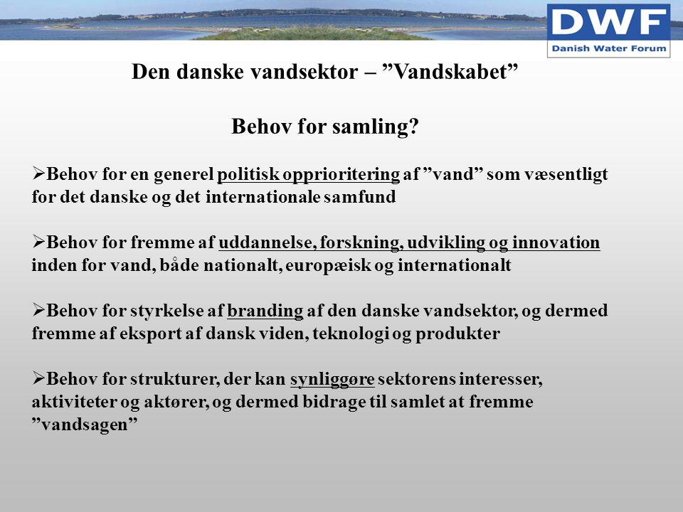 Den danske vandsektor – Vandskabet Behov for samling.